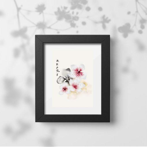 Plakat kwiaty wiśni i napis: serce