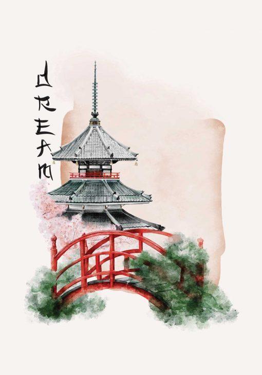 Plakat w motywem pagody oraz napisu: dream do dekoracji sypialni