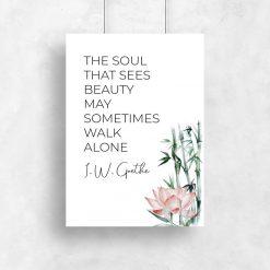 Plakat z cytatem Goethe do powieszenia w salonie