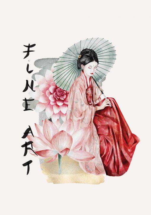 Plakat z japońską kobietą i napisem: fine art
