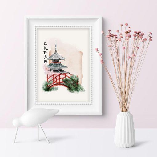 Plakat z japońskim mostkiem w ogrodzie w rózowej tonacji