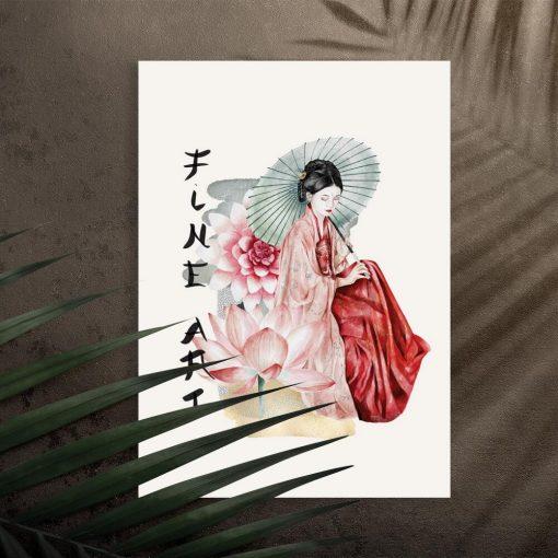 Plakat z kobietą sztuki