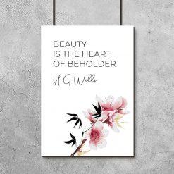 Plakat z kwiatami i sentencją o sercu