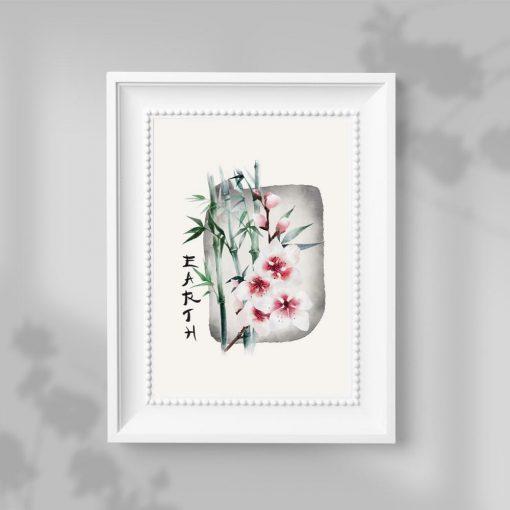 Plakat z kwiatem wiśni bez ramy