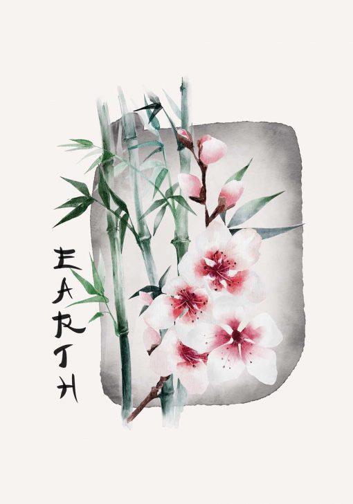 Plakat z kwiatem wiśni i napisem: earth do oprawienia