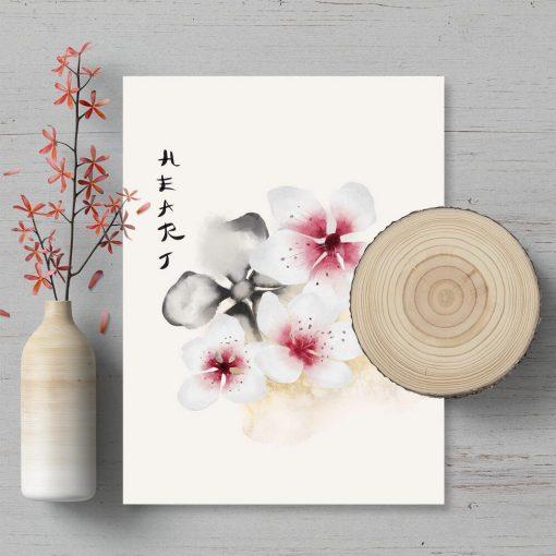 Plakat z motywem kwiatowym i typografii