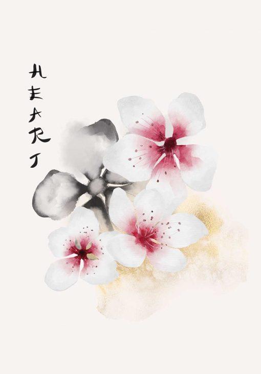 Plakat z napisem: heart i kwiatami