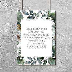 Plakat z napisem i roślinami do oprawienia w ramę