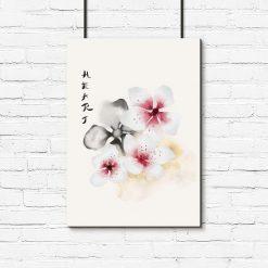 Plakat z napisem serce i kwiatami wiśni