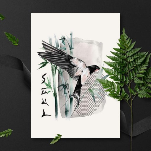 Plakat z napisem: soul i ptakiem