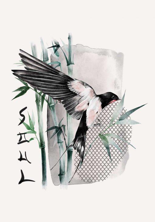 Plakat z ptakiem i bambusem