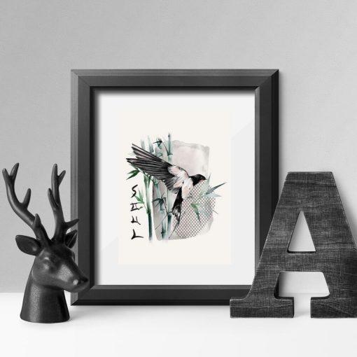 Plakat z ptaszkiem i bambusem