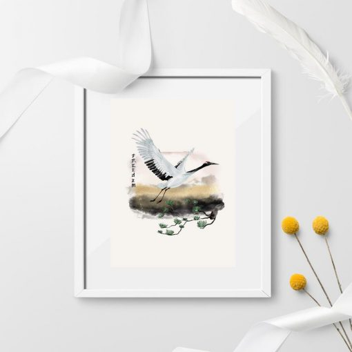 Plakat żuraw nad sosną