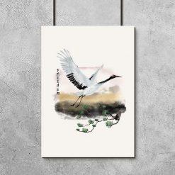 Plakat żuraw w locie