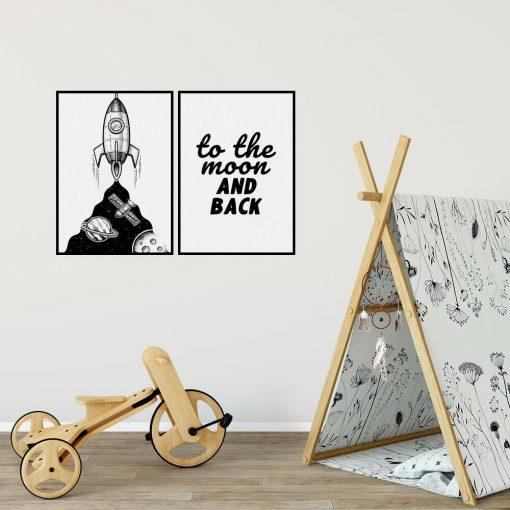 Plakaty dla dzieci z rakietą i napisem