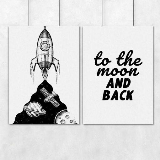 Plakaty dla dzieci z sentencją i rakietą