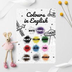 Plakaty edukacyjne do nauki angielskiego - kolory