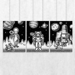 Trzy plakaty z kosmosem do pokoju dziecka